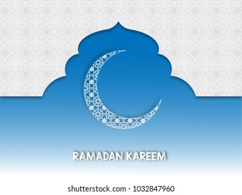 Ramadan Kareem and Eid Fitr concept. Illustration of moon and islamic geometry on blue background. Paper cut style.