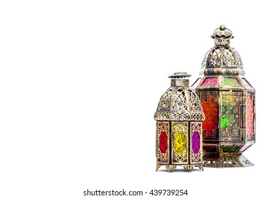 Ramadan kareem. Golden arabic lantern. Oriental holidays decoration on white background. Ramadan decoration