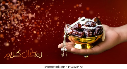 Ramadan Kareem holding dates hand holding dates with golden plate & tashbi bokeh background blur Hands holding a bowl of dates or Ramazan red mahroon cover bling bling background image