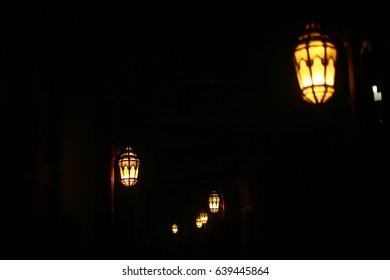 ramadan kareem lamp, ed mubarak lantern, arabian lights in night. traditional arabic hanging lantern in dubai market at night
