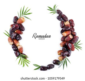 Ramadan kareem meaning Blessed ramadan with dates fruit arranged beautifully