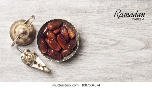 Ramadan kareem meaning Blessed ramadan with dates fruits and arabic coffee mug
