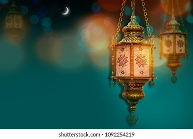 Ramadan kareem poster, celebration lamp lantern. Arabic islam culture festival decoration religious background Traditional muslim invitation card  with Crescent moon
