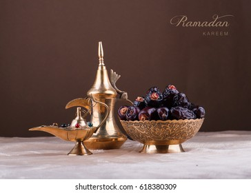 Ramadan kareem with premium dates and arabic coffee pot