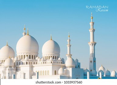 Ramadan kareem with sheikh zayed mosque in the background