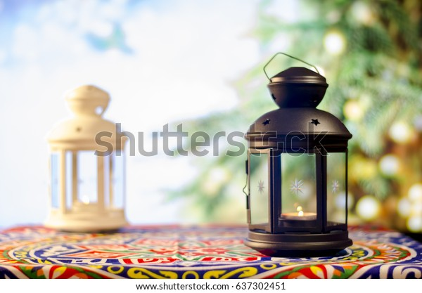 Ramadan Kareem with Tree Bokeh background, Ramadan lantern, Lamp photography, Ramadan Festival, Generous Ramadan