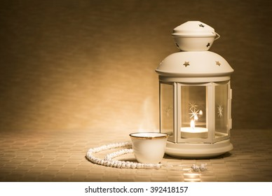 Ramadan lamp with arabian coffee