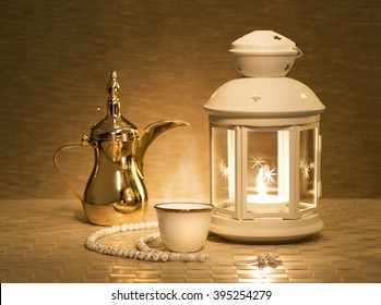 Ramadan lantern with Arabian coffee