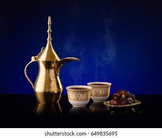 Ramadan lantern with Arabian coffee set.