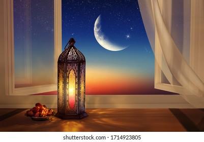 Ramadan lantern by the open window. Beautiful Greeting Card with copy space for Ramadan and Muslim Holidays. An illuminated Arabic lamp. Mixed media. - Shutterstock ID 1714923805