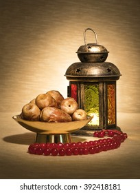 Ramadan lantern with dates and rosary