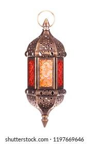 Ramadan lantern isolated. Arabic decoration lamp with burning light isolated on white background.
