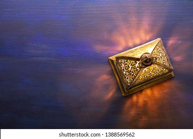 Ramadan  lantern on dark blue  wooden background.  Ramadan background.