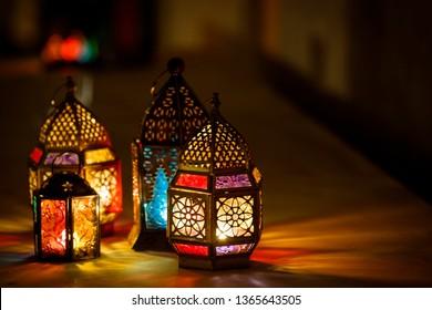 Ramadan lantern welcoming Ramadan Kareem