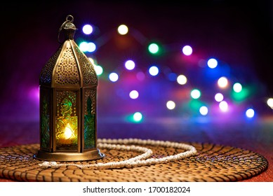 Ramadan lantern with white rosary