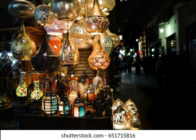 Ramadan lanterns in historical  Khan El-Khalili Souq marketplace is one of the tourist magnets in Capital City Cairo, Egypt.