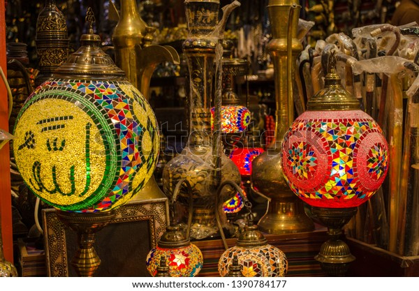 Ramadan Lanterns with the inscription of Allah, in a dusty shop in Muttrah Souq, Muscat, Oman.