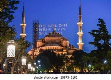 In Ramadan month Islamic message lettering hanging on Blue Mosque's mahya in Istanbul,Turkey. Mahya is an enlightenment arrangement during ramadan nights between two minarets.