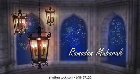 Ramadan Mubarak,Fanous lamp, muslim holy month wish, kareem , 3d illustration
