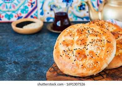 Ramadan pidesi Traditional turkish flatbread with nigella or sesame seeds. Usually baked during Holy Ramadan month.