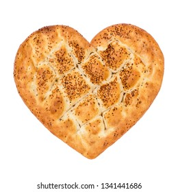 Ramadan Pita Heart Shaped (Ramazan Pidesi). Traditional Turkish bread for holy month Ramadan. Concept about love and relationship.