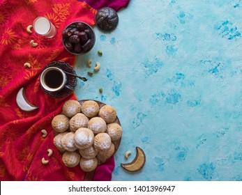 """Ramadan sweets background. Cookies of El Fitr Islamic Feast. Egyptian cookies """"Kahk El Eid"""""""