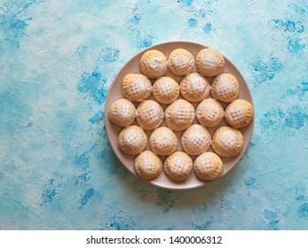 "Ramadan sweets. Egyptian cookies ""Kahk El Eid"" - cookies of El Fitr Islamic Feast."