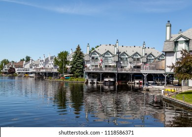 Ramara, Ontario, Canada - June 10, 2018: Buildings in Lagoon City near lake Simcoe in Ramara, Ontario, Canada. Lagoon City is a small community on the east shore of Lake Simcoe.