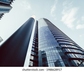 Ramat Gan, Israel - April 2, 2021: Modern business center Sapir Tower in Ramat Gan