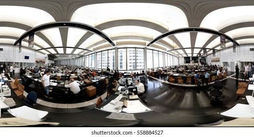 RAMAT GAN, ISRAEL, FEBRUARY 16, 2016: A 360 degrees (spherical) view of  companies exhibiting their goods on the Diamond Exchange trading floor. Traders negotiate and shake hands, exchanging diamonds