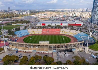Ramat Gan, Israel - March 11, 2021: Ramat Gan international Soccer stadium, Aerial view.