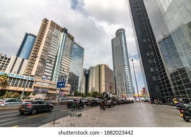 Ramat Gan, Israel - October 29, 2019: The commercial area of the city of Ramat Gan