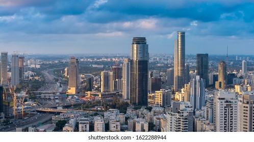 Ramat Gan And Tel Aviv Skyline In Sunset, New Skyscraper In Ramat Gan