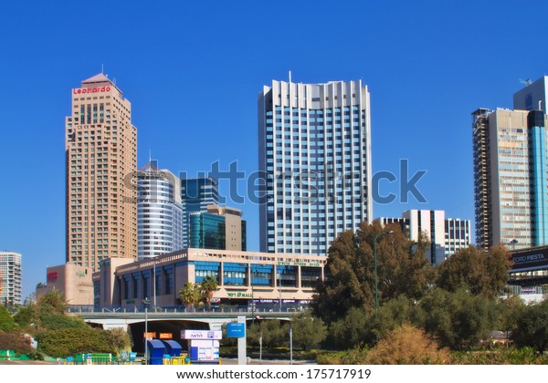 RAMAT GAN,ISRAEL-FEBRUARY 8:Business District on February 8,2014 in Ramat Gan.The city is located east of Tel Aviv.The Israel Diamond Exchange and the Stock Exchange located in the Business District.