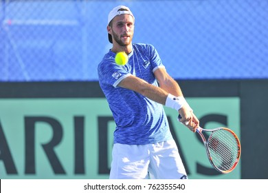 Ramat HaSharon, ISRAEL- October 27, 2017: Edan Leshem from Israel playing in the first match against Dragos Dima from Romania during the Davis Cup Israel Vs Romania at Ramat HaSharon Tennis Center