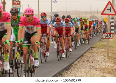 Ramat Negev, Israel - May 06, 2018: Central group at stage of Giro d'Italia from Beer Sheba to Eilat near regional council Ramat Negev