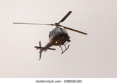 Ramat Negev, Israel - May 06, 2018: helicopter of the reportage crew in the Giro d'Italia from Beer Sheba to Eilat