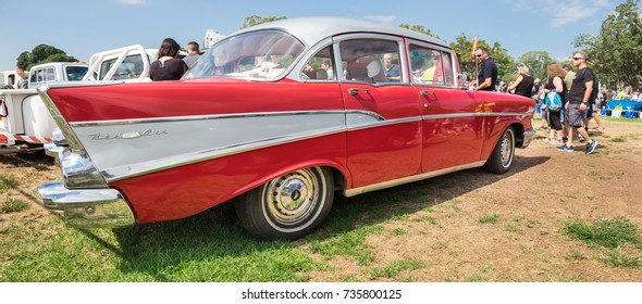 RAMAT-GAN, ISRAEL - OCTOBER 6, 2017: Large panoramic view of Vintage Chevrolet 1957 presented on annual oldtimer car show, Israel