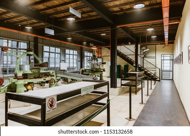 Ramboda - Central Province, Sri Lanka - June 19 2018: Interior of a tea factory.  Sri Lanka's tea industry plays a very important role in the economy of the country.