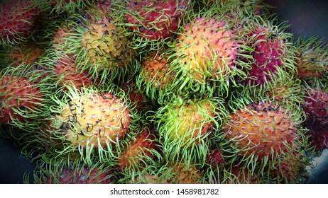 rambutan fresh, rambutans fruit, rambutan sweet delicious fruit,  red green healthy fruits rambutan