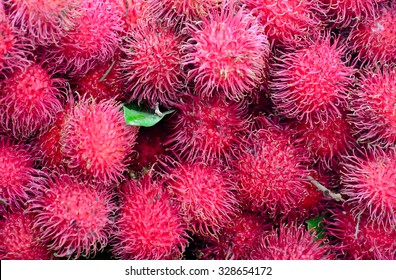 Rambutan Fruit Display For Sell On Small Street In Malwana, Sri Lanka. Malwana Is Recognized All Over Sri Lanka For The Exotic Rambutan Fruit That Grows In The Are