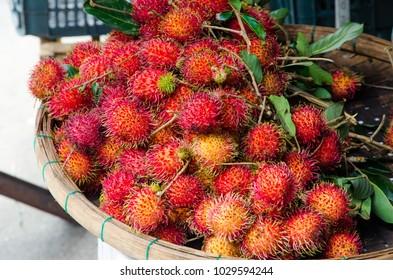 Rambutan fruit on market stall in Hoi An, Vietnam.