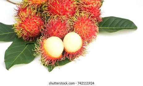 rambutan fruit on a white background.