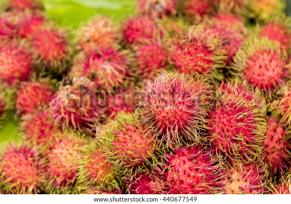 Rambutan: Fruits of Thailand, ripe red fruit,hairy at the end of the green, sweet,  The best fruit varieties in the country, fruit varieties are the best in the world and has medicinal properties.