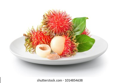 rambutan in plate isolated on a white background