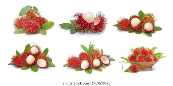 Rambutan. Set of Rambutan isolated on white background collection.