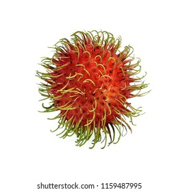 Rambutan sweet delicious fruit isolated on white background, Thailand.