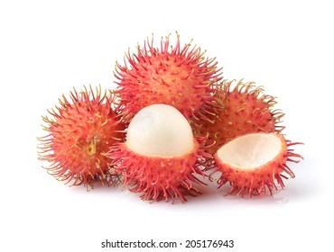 rambutan sweet delicious fruit  isolated on white background