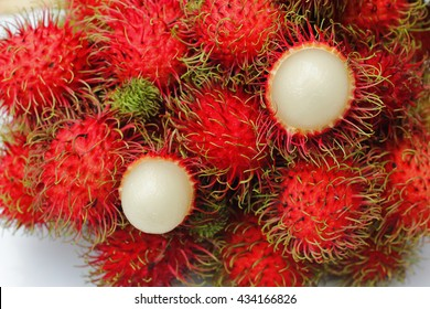 Rambutans , Rambutans fruit with leaf on white background.