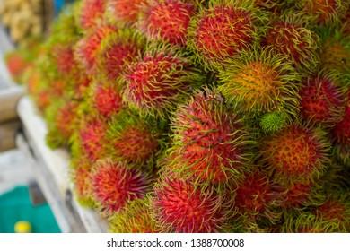 rambutans sweet fruit at thai asia local market.